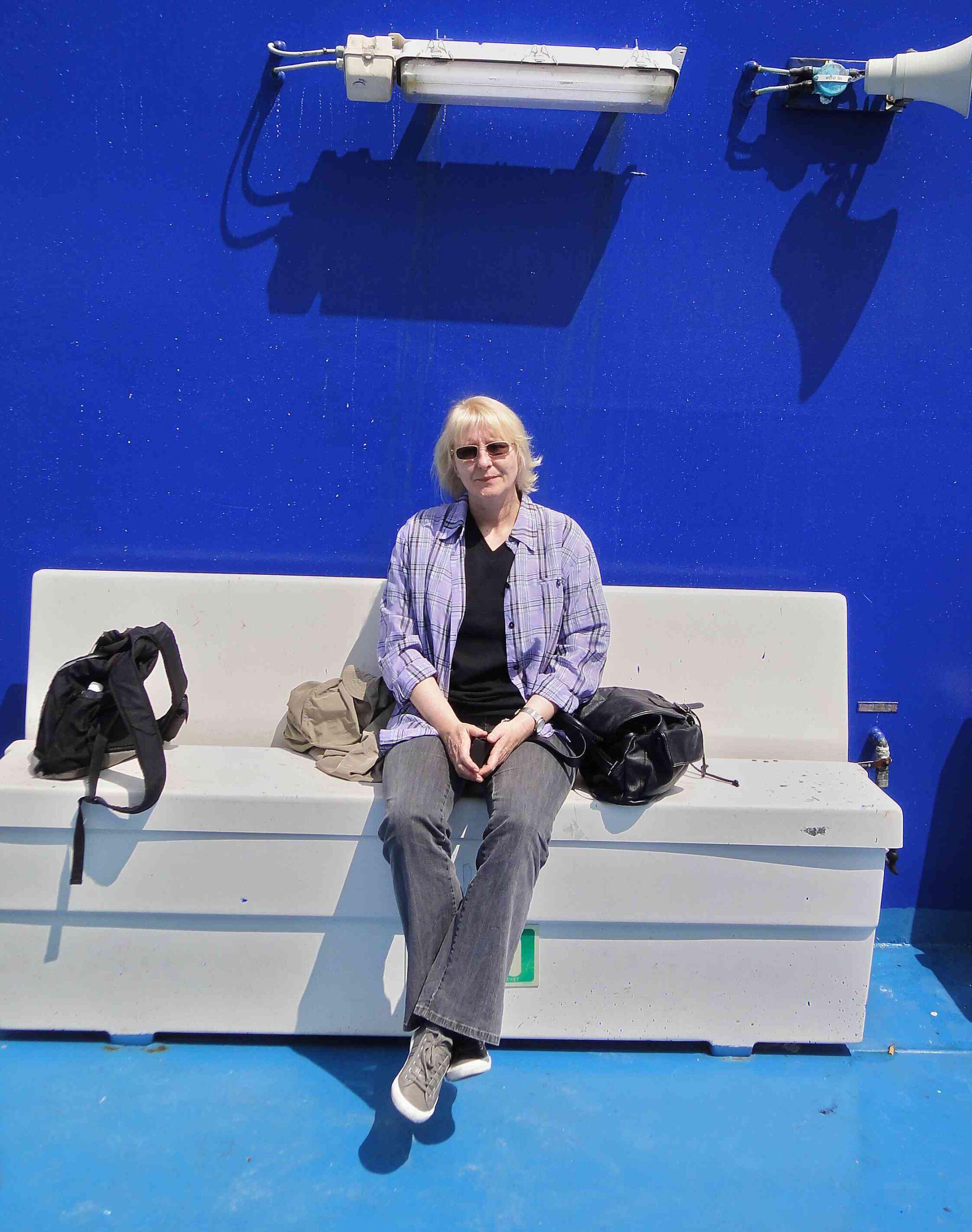 Sabine Denker auf der Faehre, Hinreise von Calais nach Dover