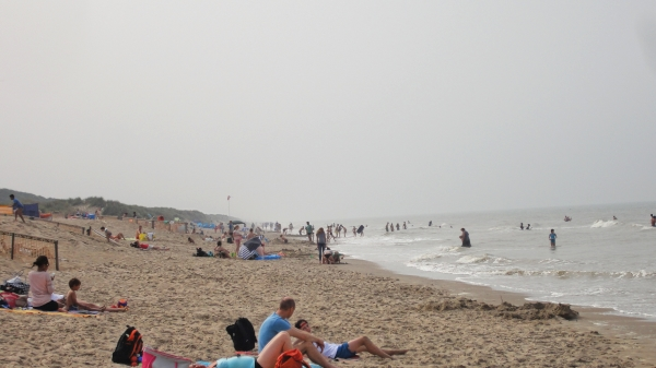 There are a few people on the beach.