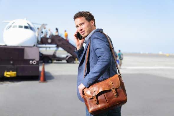 Geschäftsreise, Flugzeug, telefonieren, Handy